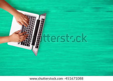 Business people working with using digital laptop on wood desk top view with copy space. - stock photo