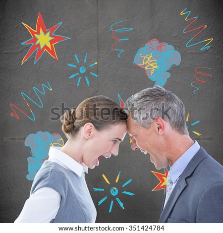 Business people yelling at each other over white background against grey concrete tile - stock photo