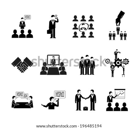 business peoples silhouettes, teamwork and meetings icons - stock photo