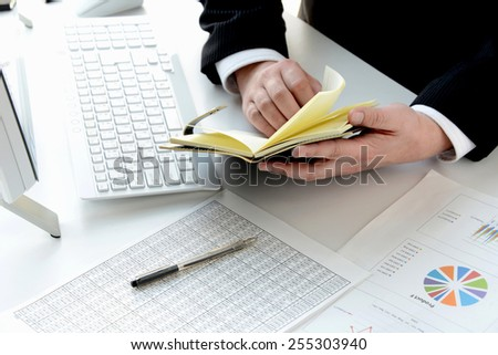 Business person checking personal organizer - stock photo