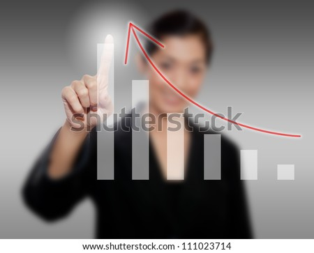 business person hand touch virtual graph,chart, diagram - stock photo