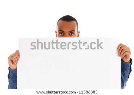 business person holding a white piece of cardboard
