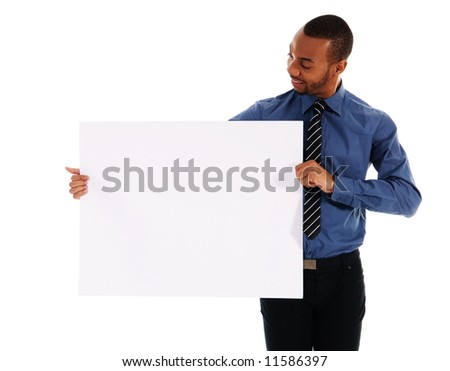 business person holding a white piece of cardboard - stock photo