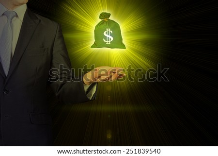 business person holding shining a bag of money and dollar sign - stock photo