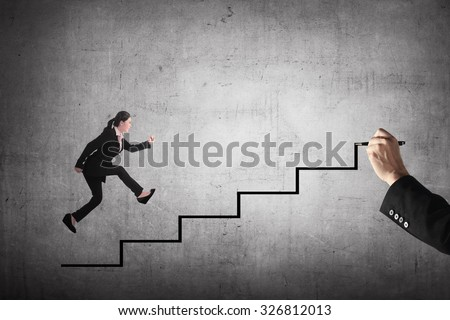 Business person jump to the highest stair. Business achievement concept
