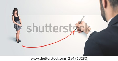 Business person looking at line drawn by hand concept on background - stock photo
