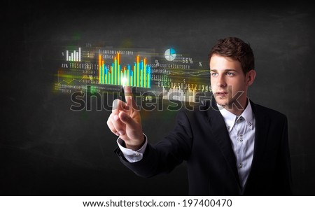 Business person touching colorful charts and diagrams - stock photo
