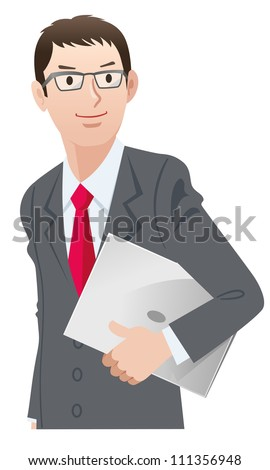 Business person wearing spectacles with a laptop computer. Looking up with a confident smile. Isolated on white background. - stock photo