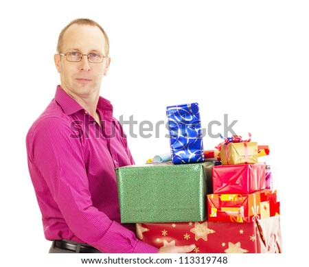 Business person with a lot of gifts