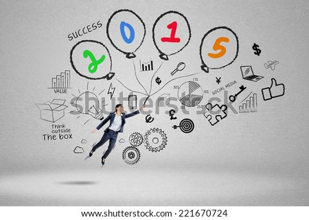 Business person with doodle fly to chase her goal in future 2015 - stock photo