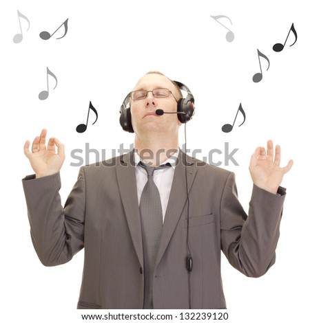 Business person with head set - stock photo