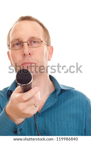 Business person with microphone - stock photo