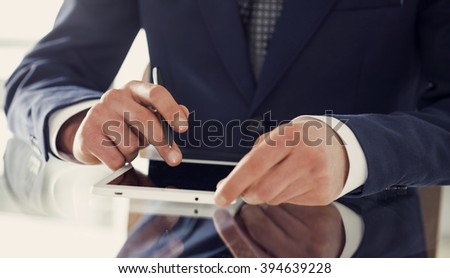Business person working in office - stock photo