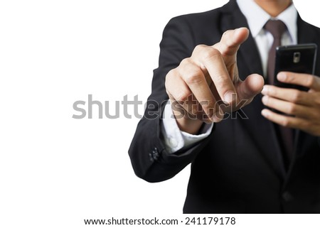 Business person working isolated on white background - stock photo