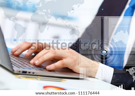 Business person working on computer against technology background - stock photo