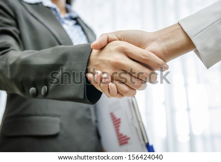 Business persons greeting by handshaking - stock photo