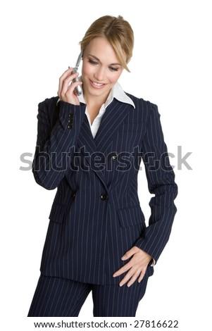 Business Phone Woman - stock photo