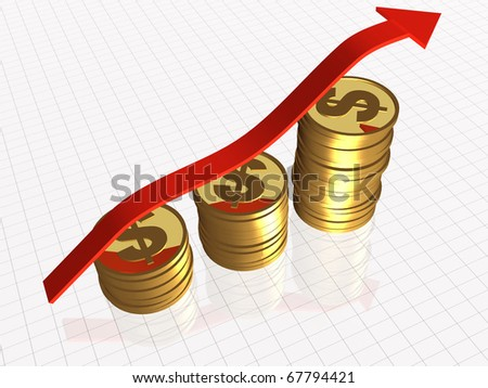Business picture about analysis - graph, arrow and coins.