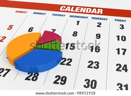Business pie chart with calendar - stock photo