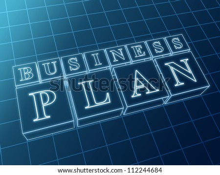 business plan 3d blue glass boxes with text - stock photo