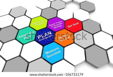 Business Plan 3D rendering Diagram connection beehive background