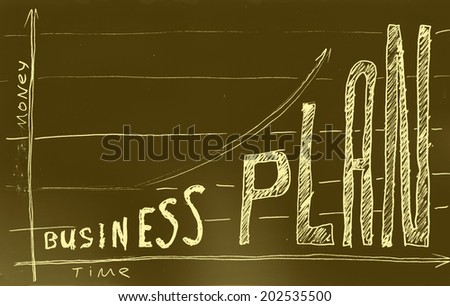 Business plan. Hand drawn with felt pen on aged paper.