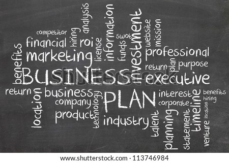 business plan on chalboard word flow