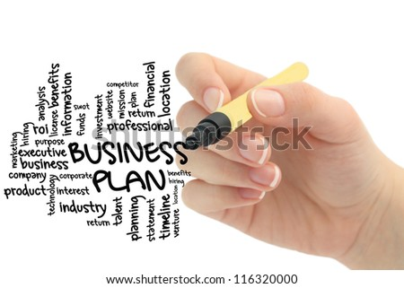 business plan on chalboard word flow - stock photo