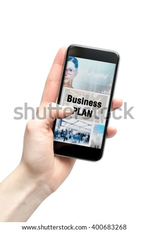 business plan on the smartphone screen.
