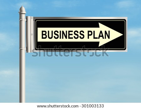 Business plan. Road sign on the sky background. Raster illustration.