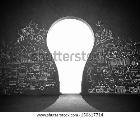 Business plan sketch on black wall. Idea concept - stock photo