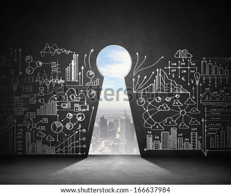 Business plan sketch on black wall with key hole - stock photo