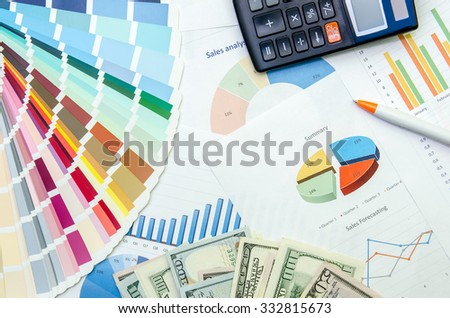 business plan with pen, dollar, calculator