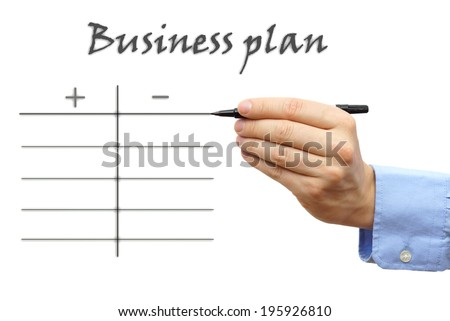 business plan with pro and contra - stock photo
