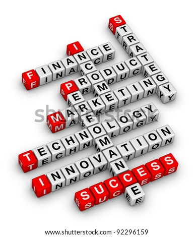 business planning 3d crossword puzzle - stock photo