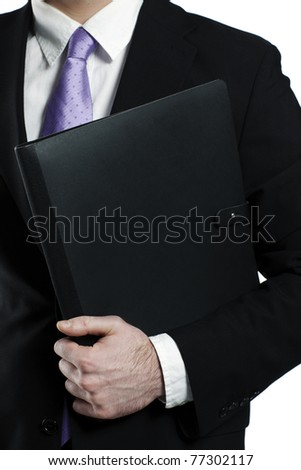 business portfolio held by a businessman - stock photo