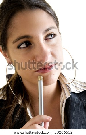 business portrait of a young thinking and successful woman with a pen