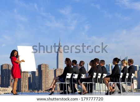 Business Presentation at New York City Rooftop - stock photo