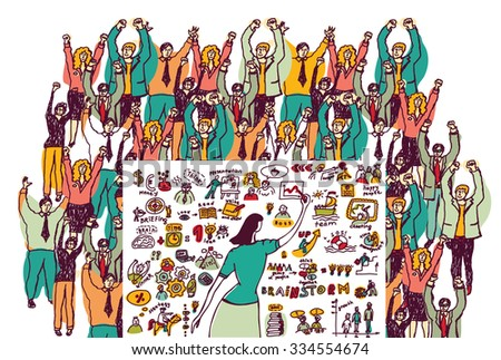 Business presentation color audience. Big group business people and businesswoman in presentation. Color illustration.  - stock photo