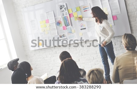 Business Presentation in a Trendy Office - stock photo