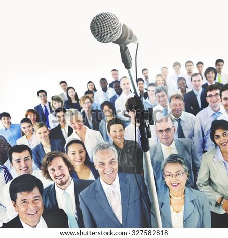 Business Presentation Speech Microphone Group Crowd - stock photo