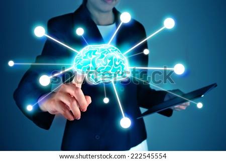 Business press brain symbol - stock photo