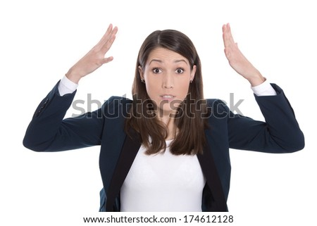 Business: pretty woman excited with hands in the air isolated on white background - stock photo