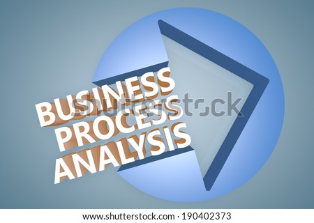Business Process Analysis - 3d text render illustration concept with a arrow in a circle on blue-grey background