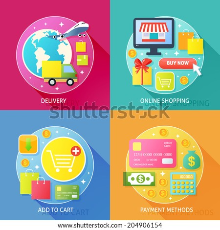 Business process concept of delivery online internet shopping add to cart and payment methods icons set  illustration - stock photo