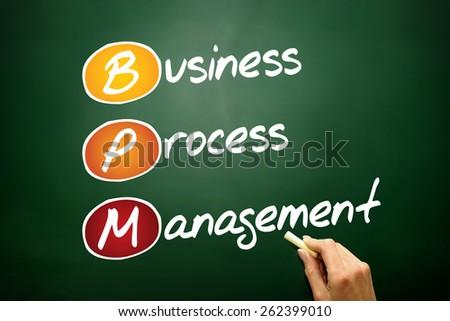 Business process management (BPM), business concept on blackboard - stock photo