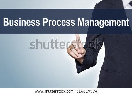 Business Process Management Business woman pushing hand on virtual screen for e-commerce background