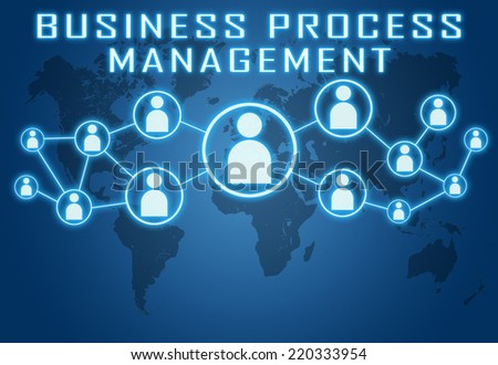Business Process Management concept on blue background with world map and social icons. - stock photo