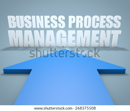 Business Process Management - 3d render concept of blue arrow pointing to text. - stock photo