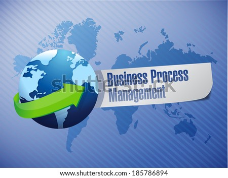 business process management globe sign illustration design over a world map background